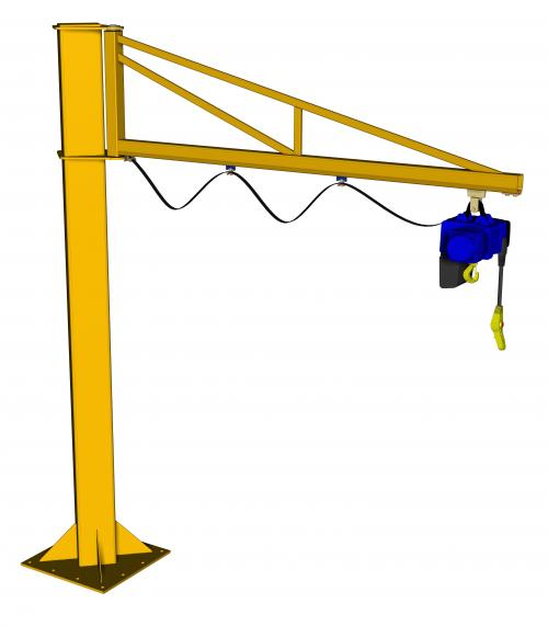 Free Standing Over Braced Jib Crane 2m Arm