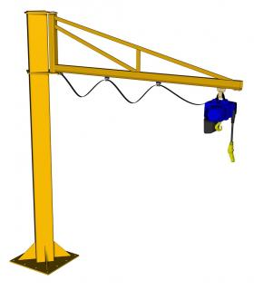 Free Standing Over Braced Jib Crane 4m Arm